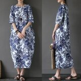 ส่วนลด Zanzea 2017 Womens Boho Floral Printed Short Sleeve Cotton Linen Maxi Long Dress Loose Baggy Casual Kaftan Vestido Plus Size White Intl จีน