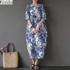 ซื้อ Zanzea 2017 Womens Boho Floral Printed Short Sleeve Cotton Linen Maxi Long Dress Loose Baggy Casual Kaftan Vestido Plus Size White Intl ถูก ใน แองโกลา