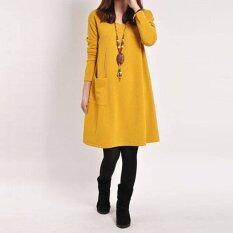 ราคา Zanzea กระเป๋าสุภาพสตรีสวมเสื้อเชิ้ตแขนยาวคอวีผ้าฝ้ายเสื้อหลวม ๆnสบายท้องมินิเดรสสีเหลือง ระหว่างประเทศ Zanzea ใหม่