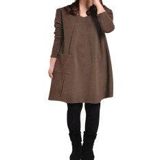 ราคา ราคาถูกที่สุด Zanzea กระเป๋าสุภาพสตรีสวมเสื้อเชิ้ตแขนยาวคอวีผ้าฝ้ายเสื้อหลวมๆสบายๆกาแฟมินิเดรสคนท้อง