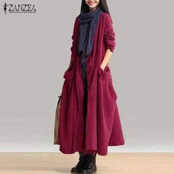ZANZEA ฤดูใบไม้ร่วงแขนยาวผ้าฝ้ายลินินยาวเสื้อลำลองหลวมสบายๆยาวเสื้อสเวตเตอร์ถักผู้หญิงเฒ่ากระเป๋าขนาดใหญ่แจ็คเก็ตทนกว่าไวน์สีแดง - นานาชาติเสื้อผ้าแฟชั่นเสื้อคลุมหญิงเสื้อแจ็คเก็ต