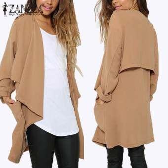 ZANZEA ฤดูใบไม้ร่วงฤดูหนาวเสื้อแฟชั่นผู้หญิงเสื้อแขนยาวเสื้อสเวตเตอร์ถักแบบสบายๆเสื้อแขนยาวหลวมบางทึบเสื้อบวกขนาด (สีกากี) - นานาชาติเสื้อผ้าแฟชั่นเสื้อกันหนาวเสื้อคลุม-