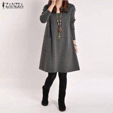 ราคา Zanzea ชุดเดรสสั้นสตรีชุดลำลองชุดลำลองชุดลำลองชุดลำลองชุดหญิงแขนยาววี คอ Vestidos Femininas ขนาดชุด 5 สี เข้มสีเทา นานาชาติ ใหม่