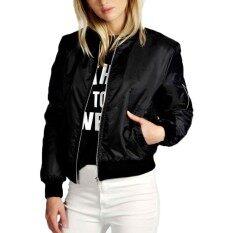 โปรโมชั่น Zanzeaสตรีสตรีวินเทจคลาสสิคมีเบาะรูดซิปเสื้อแจ๊คเก็ตเสื้อขี่มอเตอร์ไซค์ Black ใน จีน