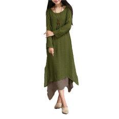 ขาย Zanzea Boho แขนเสื้อยาวผ้าฝ้ายสาวฮิปปี้ยาวแต่งตัวลำลองแมกซี่ Amynสีเขียว Zanzea ผู้ค้าส่ง