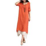 ขาย Qiaosha Zanzea Boho แขนเสื้อยาวผ้าฝ้ายสาวฮิปปี้ยาวแต่งตัวลำลองแมกซี่ส้ม ในประเทศ Zanzea