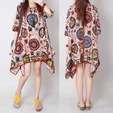 ขาย Zanzea Fashion Vintage Women S Round Neck Chinese Style Irregular Long Tops Kaftan Shirt Floral Printed Mini Dress Intl Zanzea ผู้ค้าส่ง