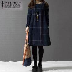 ราคา Zanzea วินเทจลายแขนเสื้อยาวสาวเช็กมินิเดรสกรมท่า Intl ที่สุด