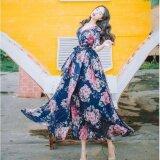 ราคา Zanzea Jvivi Floral Print V Neck Chiffon Long Dress Women Elegant Vintage Retro 2017 Maxi Dresses Vestidos S*xy Floral Print Split Beach Summer Dress Intl เป็นต้นฉบับ