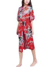 ราคา Zanzea กิโมโนญี่ปุ่นนกยูงยาว Robe ซาตินชุดราตรีชุดราตรี สีแดง ใหม่