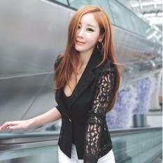 ราคา Zanzea ลูกไม้โครเชต์สตรีสูทเสื้อนอกเบลเซอร์หนึ่งประกบปุ่มสีดำ ออนไลน์ จีน