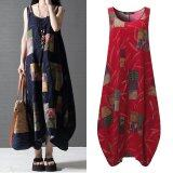 ขาย Zanzea New Arrival Vestidos Summer Women Vintage Print Dress O Neck Lantern Sleeveless Long Maxi Dresses Loose Casual Dress Red Intl Zanzea เป็นต้นฉบับ
