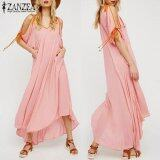 ซื้อ Zanzea New Summer Long Dresses Women Ladies Loose Lace Up Tie Half Short Sleeve V Neck Hollow Out Thin Maxi Dress Beach Sundress Pink Intl Zanzea ออนไลน์