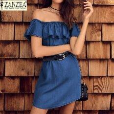 ซื้อ Zanzea Oversized Women Solid Strapless Off Shoulder Beach Mini Dress Flouncing Denim Blue Casual Party Dark Blue Intl