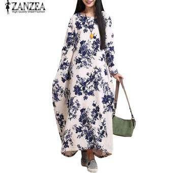 ZANZEA Oversized ผู้หญิงผ้าฝ้ายลินินยาวลำลองยาวแม็กซิชุด Kaftan (สีดำ)-สนามบินนานาชาติ-