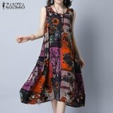 ขาย Zanzea Plus Size Women Vintage Print Dresses Summer Sleeveless Loose Pockets A Line Dress Casual Crew Neck Mid Calf Vestidos Red Intl จีน ถูก