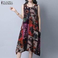 ราคา Zanzea Plus Size Women Vintage Print Dresses Summer Sleeveless Loose Pockets A Line Dress Casual Crew Neck Mid Calf Vestidos Red Intl ใหม่ ถูก