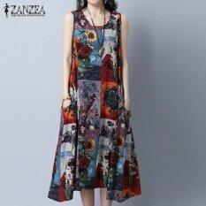ซื้อ Zanzea Plus Size Women Vintage Print Dresses Summer Sleeveless Loose Pockets A Line Dress Casual Crew Neck Mid Calf Vestidos Yellow Intl Zanzea ออนไลน์
