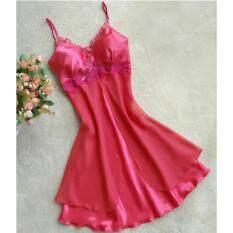 ซื้อ Zanzea Satin Nightgown Strap Babydoll Chemise Robe Sleepwearmini Dress Rose Intl ออนไลน์ ถูก