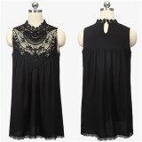 ซื้อ Zanzea S*xy Women Lace Chiffon Dress Evening Party Summer Sleeveless Mini Dress Black ใหม่ล่าสุด