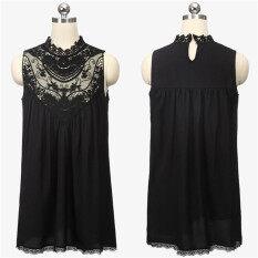 ราคา Zanzea S*xy Women Lace Chiffon Dress Evening Party Summer Sleeveless Mini Dress Black ถูก