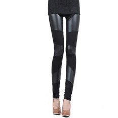 ราคา Zanzea S*xy Women Stitching Stretchy Faux Leather Black Tights Leggings Pants ราคาถูกที่สุด