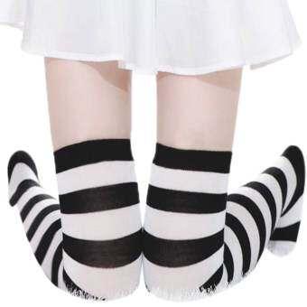 แนะนำ ZANZEA Sexy Women Thigh High Striped Over the Knee Socks Cotton Stockings