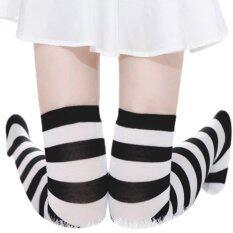 ขาย ซื้อ ออนไลน์ Zanzea S*xy Women Thigh High Striped Over The Knee Socks Cotton Stockings