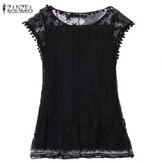 ส่วนลด Zanzea Summer Dress 2017 S*xy Women Casual Sleeveless Beach Short Dress Tassel Solid White Mini Lace Dress Vestidos Plus Size Black Intl จีน