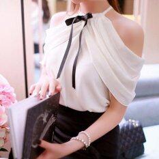 ขาย Zanzea ฤดูร้อนสไตล์คอโบว์สีขาวเสื้อลำลองบางเสื้อชีฟองเซ็กซี่ปิดไหล่เสื้อเสื้อสีขาว ใน จีน