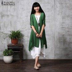 ซื้อ Zanzea ฤดูร้อนผู้หญิงชุดลำลองหลวมๆเสื้อสเวตเตอร์ถักแบบลินิน Blusas Feminino ชุดเดรสแฟชั่นแขนยาวครึ่งทนกว่าพลัสขนาด หมึกสีเขียว นานาชาติ ถูก ใน จีน