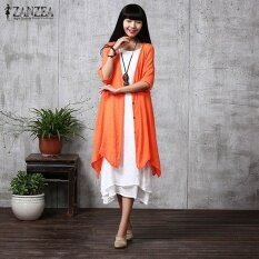 ราคา Zanzea ฤดูร้อนผู้หญิงชุดลำลองหลวมๆเสื้อสเวตเตอร์ถักแบบลินิน Blusas Feminino ชุดเดรสแฟชั่นแขนยาวครึ่งพลัสขนาด ส้มสีแดง นานาชาติ ถูก