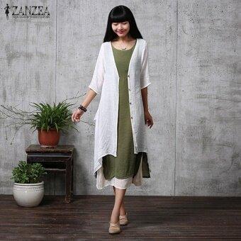 ZANZEA ฤดูร้อนผู้หญิงลำลองหลวมผ้าลินิน Blusas Feminino Elegant ครึ่งแขนยาวแฟชั่น Outwear พลัสขนาด (สีขาว)