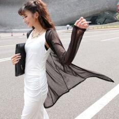 ขาย Zanzea Summer Women Oversized S*xy See Through Yarn Cardigan Casual Loose Long Sleeve Blouses Shirts Outwear Tops Plus Size Blusas Black Intl ใหม่