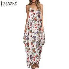 ขาย Zanzea Vestidos 2017 Summer Boho Women Dress S*xy Straps V Neck Star Floral Print Maxi Long Dress Casual Loose Sleeveless Beach Dresses Safflower Intl เป็นต้นฉบับ