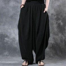 ซื้อ Zanzea ผู้หญิงผ้าฝ้ายลินินขากางเกงขากว้างเอวยางยืดวินเทจลำลอง Baggy ฮาเร็มกางเกงขายาวโคมไฟกางเกงขนาดใหญ่สีดำ นานาชาติ ถูก