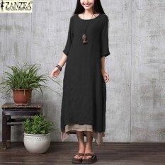 ขาย Zanzea Women 2017 Oversize Linen Muslim Dress Summer Autumn Casual Loose Vintage O Neck Elegant 3 4 Sleeve Long Maxi Dresses Black Intl เป็นต้นฉบับ