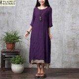 ขาย Zanzea Women 2017 Oversize Linen Muslim Dress Summer Autumn Casual Loose Vintage O Neck Elegant 3 4 Sleeve Long Maxi Dresses Purple Intl ถูก Thailand