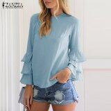 ขาย Zanzea Women Blouses Ladies O Neck Flounce Long Sleeve Solid Blusas Casual Loose Tops Plus Size Blue Intl ราคาถูกที่สุด