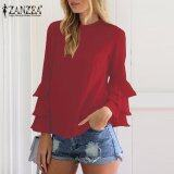 ซื้อ Zanzea Women Blouses Ladies O Neck Flounce Long Sleeve Solid Blusas Casual Loose Tops Plus Size Wine Red Intl