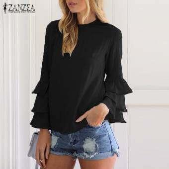 ZANZEA ผู้หญิงเสื้อสตรีสุภาพสตรีเสื้อกล้ามคอยาวแบบทึบ Blusas เสื้อลำลองพลอยพลัสขนาด (สีดำ) - สนามบิน-