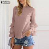 ขาย Zanzea Women Blouses Ladies O Neck Flounce Long Sleeve Solid Blusas Casual Loose Tops Plus Size Pink Intl ออนไลน์ จีน