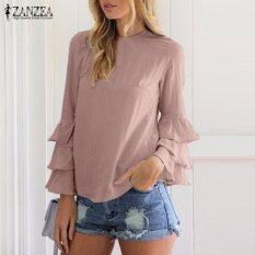ราคา Zanzea Women Blouses Ladies O Neck Flounce Long Sleeve Solid Blusas Casual Loose Tops Plus Size Pink Intl ถูก