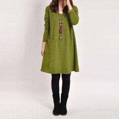 ส่วนลด Zanzea เสื้อยาวแขนเสื้อสบายกระเป๋าสตรีตั้งครรภ์แก้ผ้าแต่งตัว Zanzea ใน จีน