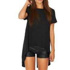 ราคา Zanzea Women Casual Split Backless Short Sleeve Round Neck T Shirt Loose Irregular Hem Top Blouse Black ออนไลน์