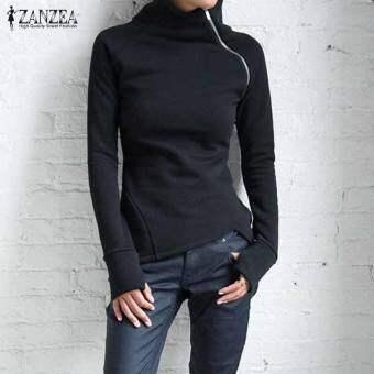 ZANZEA ผู้หญิงสุภาพสตรีซิปปกเสื้อลำลองลำลองเสื้อสวมหัวฮู้ดเสื้อกันหนาวสีดำ - นานาชาติเสื้อเบลาส์เสื้อเชิ้ตเสื้อเชิ้ตผู้หญิง