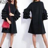 Zanzea Women O Neck Ruffled Sleeve Casual Tops Shirts Autumn Ladies Flared Flounced Short Mini Dress Vestido Plus Size S 5Xl(Black) Intl Thailand