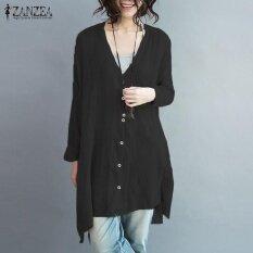 ขาย Zanzea Women Oversized Cotton Linen Button V Neck Blusas Long Sleeve Irregular Split Autumn Fashion Blouse Tops Shirt Black Intl เป็นต้นฉบับ