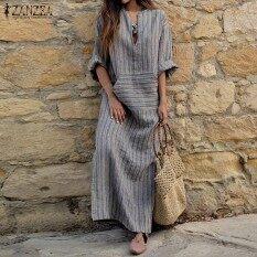 ราคา Zanzea Women Pinstriped Long Sleeve Striped Plus Long Maxi Dress Tunic Grey Intl Zanzea ใหม่