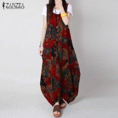 ขาย Zanzea Women Retro Loose Long Dress Random Floral Printed Sleeveless O Neck Baggy Robe Red Intl Zanzea ออนไลน์